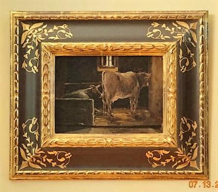 Italian Cows in barn with Sgraffito frame.JPG