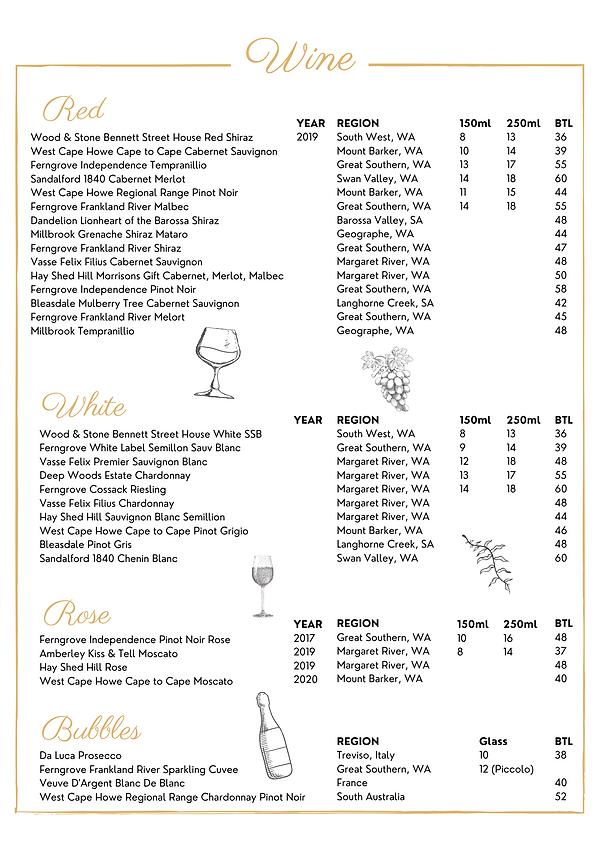 Website WINE - Wood & Stone Café - Menu