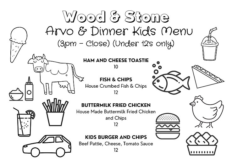 Wood and Stone Cafe - Kids Menu - Arvo &