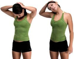 Stretching the neck to help alleviate neck pain and neck tension