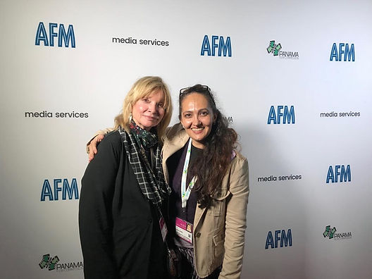 Amina Jindani with Kate Lyra at the AFM 2019