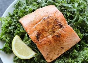 Massaged Kale Salad with Salmon