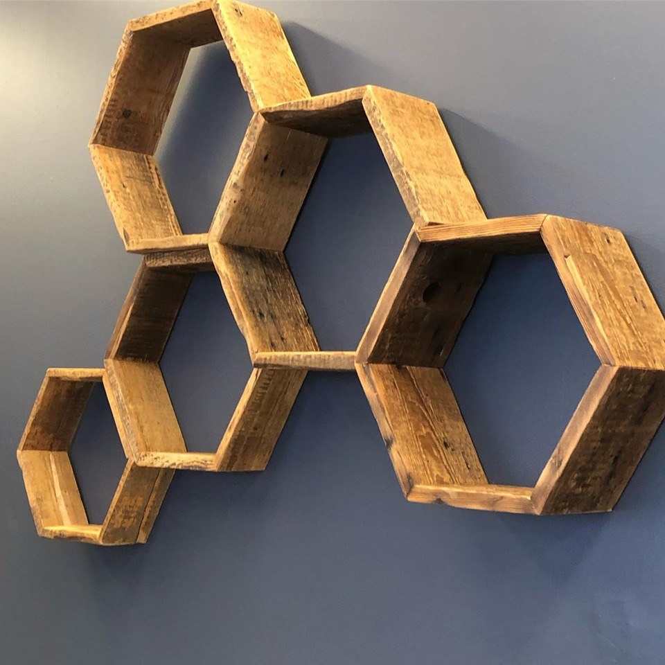 Century old honeycomb shelves