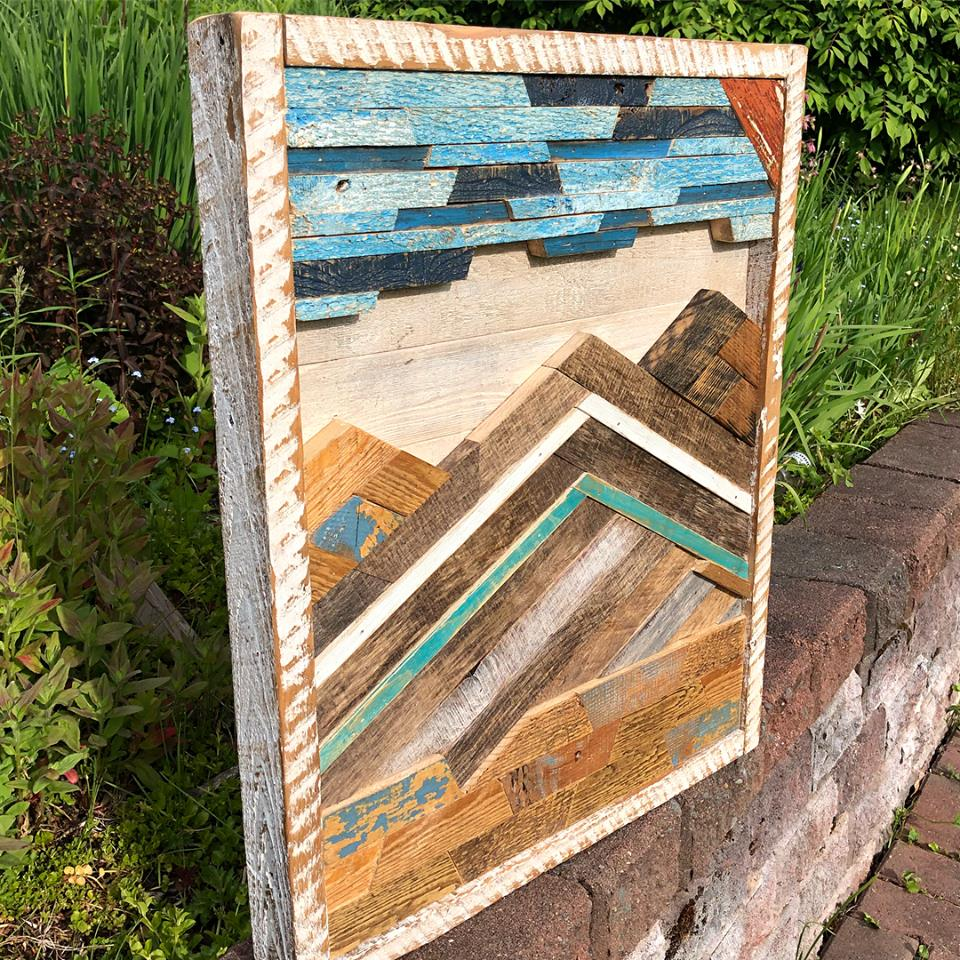 Reclaimed wood mountain scene