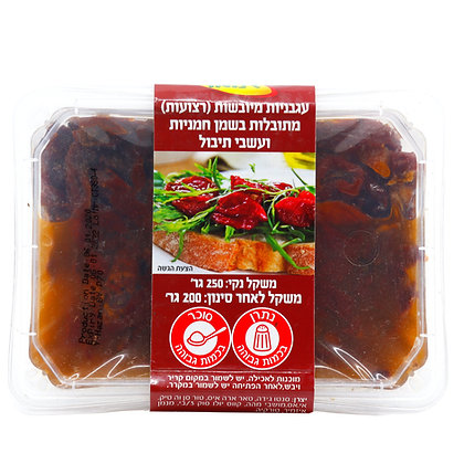 עגבניות מיובשות (רצועות) מתובלותבשמן חמניות ועשבי תיבול