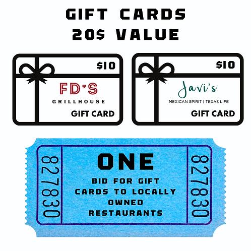 Gift Cards - 1 bid