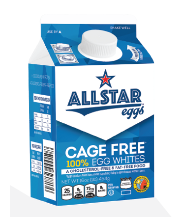 Allstar Eggs Cage Free 100% Egg Whites carton
