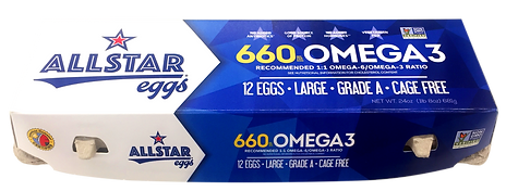 Allstar Eggs 660mg Omega 3 egg carton