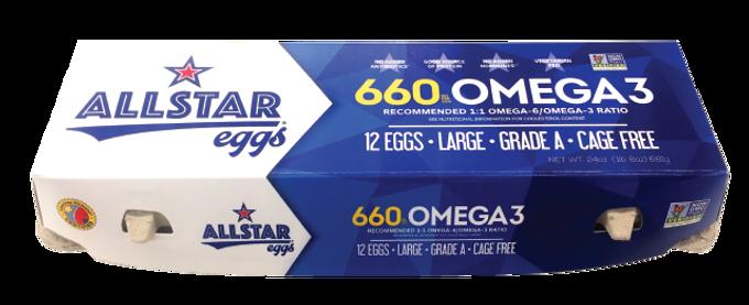 Allstar Eggs 660 millagram Omega 3 Eggs