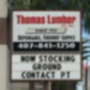 Thomas Lumber Company - Front Sign