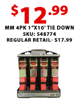 "MM 4pk 1""x10' Tie Down"