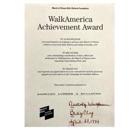 March of Dimes - WalkAmerica Achievement Award
