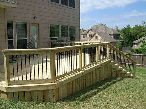 Wood deck in backyard