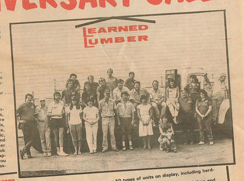 Learned Lumber celebrating 60 years in 1984.