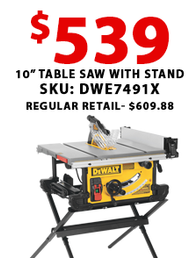 "DeWalt 10"" Table Saw with Stand"