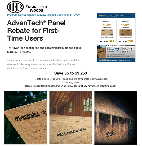AdvanTech® Panel Rebate for First-Time Users