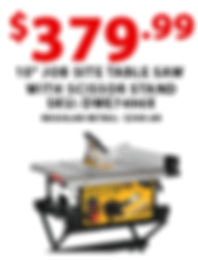 Job Site Table Saw with scissor stand