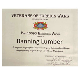 Veterans of Foreign Wars recognition award