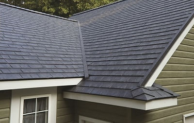 Close up image of roof on home.