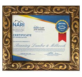 NARI certificate of appreciation 2018