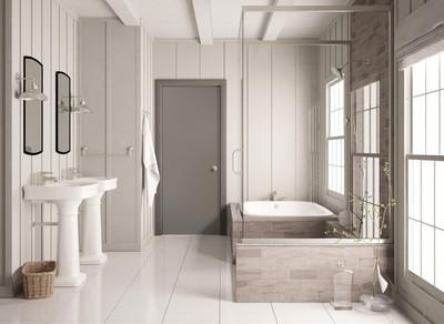 Chamfer walls in bathroom