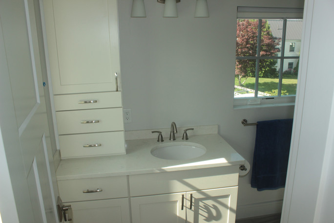 Guest bathroom vanity and storage, designed by Nathan Johnson.