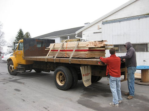 Delivery truck loaded with lumber