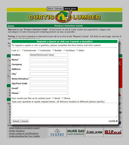 "Curtis Lumber eShowroom ""Request a Quote"""
