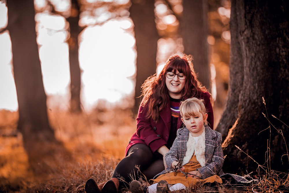 mother and daughter family portrait photography outdoor woodland magical forest sugar moon
