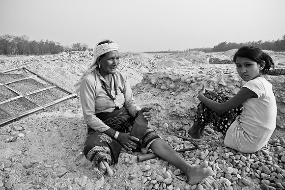 Woman Working in Riverbed - by Bhawani Dahal