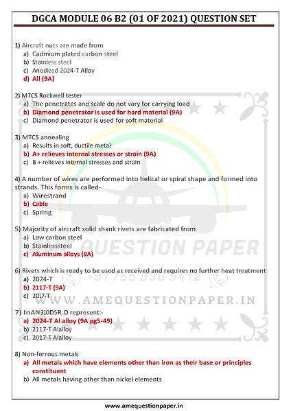 DGCA MODULE 06 B2 (01 OF 2021) QUESTION