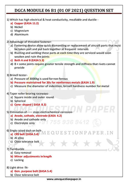DGCA MODULE 06 B1 (01 OF 2021) QUESTION