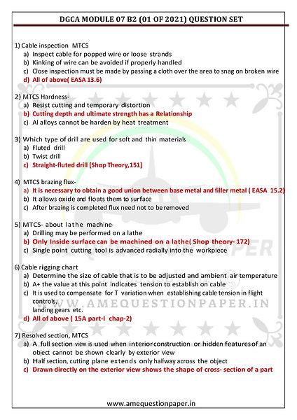 DGCA MODULE 07 B2 (01 OF 2021) QUESTION