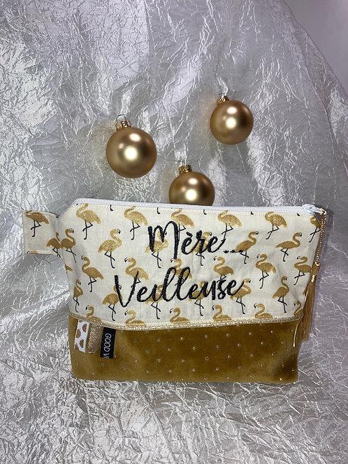 """Trousse brodé """"Mère Veilleuse"""" Flamant rose doré"""