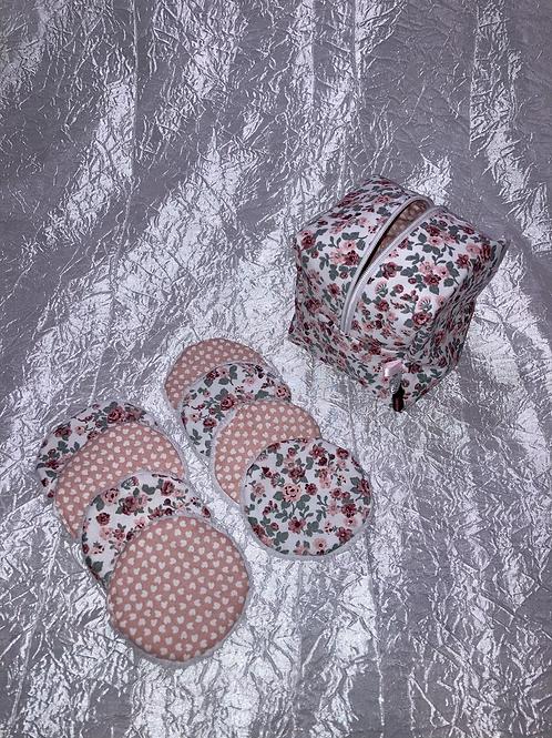 Trousse et 8 cotons démaquillant lavables Fleurs rose et kaki