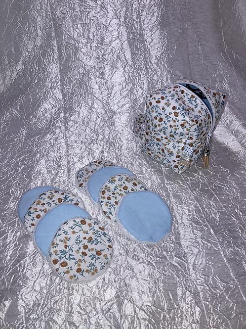 Trousse et 8 cotons démaquillant lavables Fleurs bleu et marron
