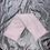 Thumbnail: Bouillotte sèche tour de cou en graine de lin bio fleurs blanches sur fond rose