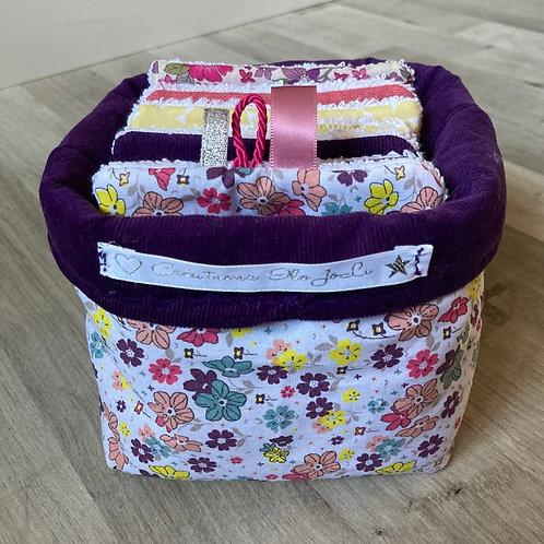 Panière et 10 lingettes lavables Liberty Violet