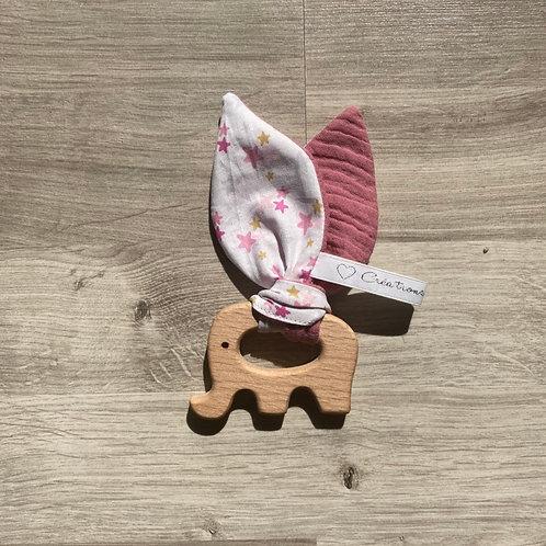 Hochet Montessori Éléphant Étoile Vieux Rose