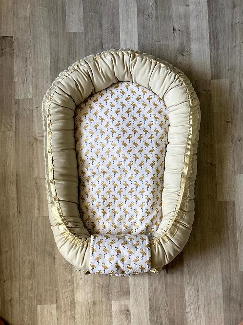 Babynest nid bébé beige naturel avec Topponcino et sa housse Flamant doré