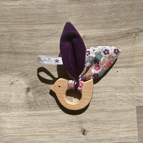 Hochet Montessori Oiseau Liberty Violet
