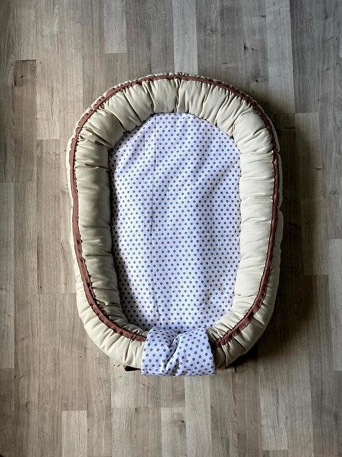 Babynest nid bébé beige naturel avec Topponcino et sa housse pois beige