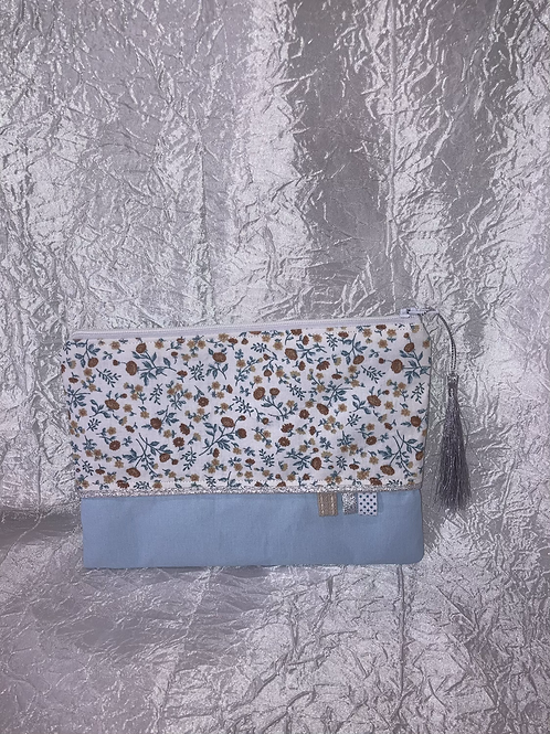 Petit Pochette Fleurs bleu et marron
