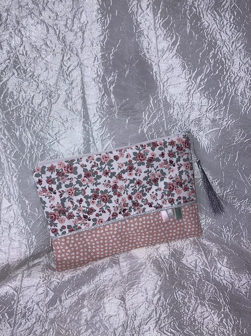 Petit Pochette Fleurs rose et kaki