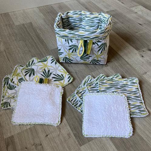 Panière et lingettes lavables x 10 Feuilles Amande
