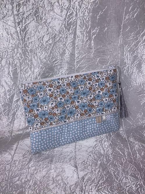 Petit Pochette Fleurs bleu et beige