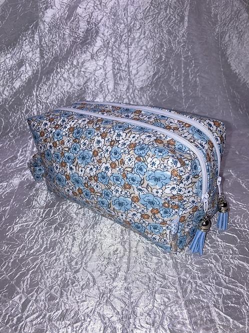 Trousse double zip fleurs bleu et beige