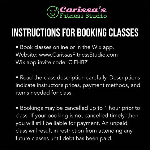 Carissa's Fitness Studio - Instructions for Booking Classes