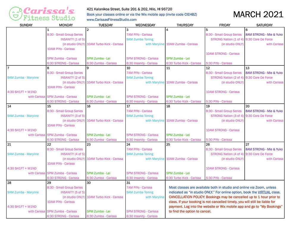Carissa's Fitness Studio - March 2021 Calendar