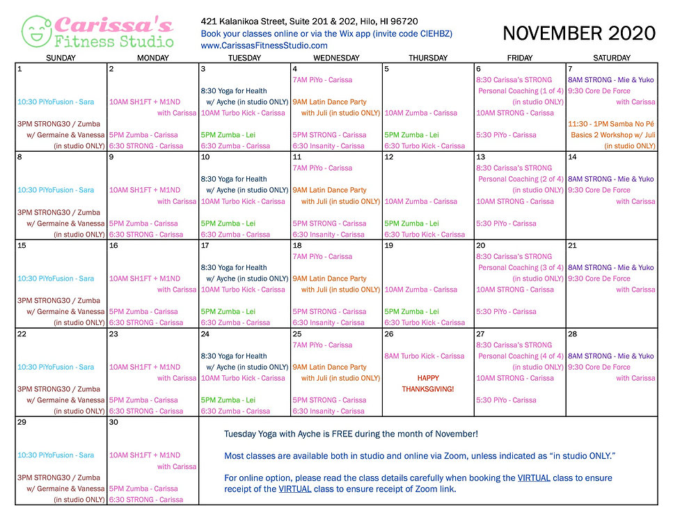 Carissa's Fitness Studio - November 2020 Calendar